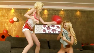 Blonde vulgar chicks are going to fight sexually