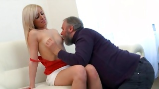 Blonde naughty hooker seduced for young and old copulation