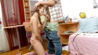 Busty teen chick is sucking the ramrod and masturbating