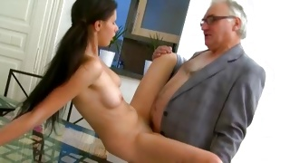 Horrible mature guy inserting hand to babe tits
