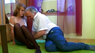 Horrible teen porn where mature guy is seducing the beauty