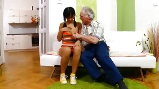 Hottie is waiting till mature guy undressing his plump body