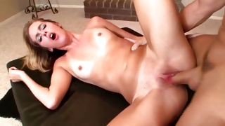 Messy sweetie is riding the cunt hole on long big penis