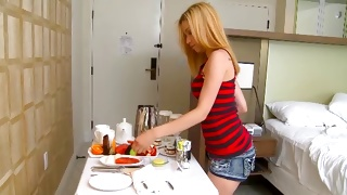 Free teen porn where raunchy blondie is bending in a skirt
