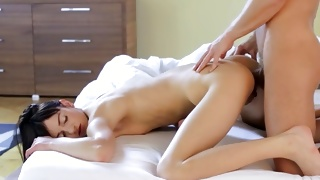Bent over skinny is fingered on her amazing anal hole
