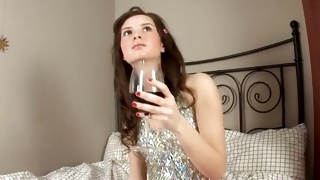 Beauty babe is drinking wine about to get slammed