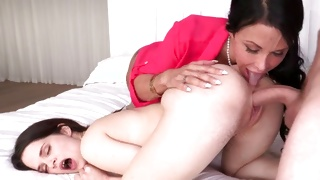 One horny guy is staring at these both slutty horny bitches