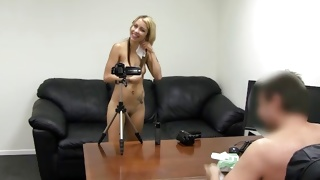Lovely looking blonde gets slammed from behind