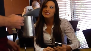 Messy brunette girl looks delicious in the cafe