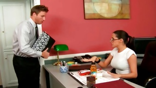 Kinky secretary is watching on horrible man