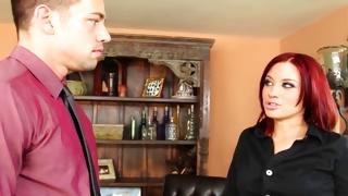 Redhead young slut seducing naughty man