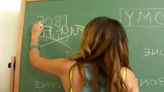 Perfectly hot young bitch is writing on the board