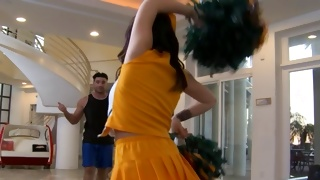 Mouthwatering bitchy cheerleader looks sexually hot