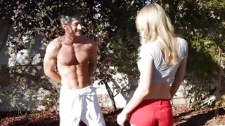 Muscular mature greeting seductive whore