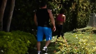 Passionate hottie is running together with fellow
