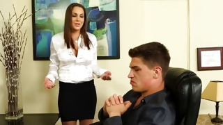Splendid young bitch talking dirty to her boss