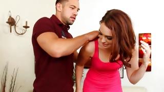 Guy helps bitch take the dress off