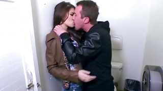 Dude is inserting tongue in her slim bumhole