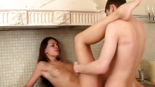 Brown-haired cuddly chick is getting her darling beaver blowjayed off